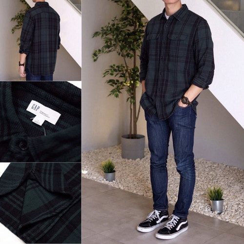 Foto Produk Kemeja GAP Heavyweight Flannel Plaid Shirt Dark Green Original - L dari OTOMO Store