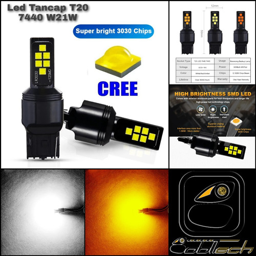 Foto Produk Lampu Sein Mundur Mobil Led T20 7440 W21W 5630-12 CREE Projector - Kuning dari BoblTech_Farah