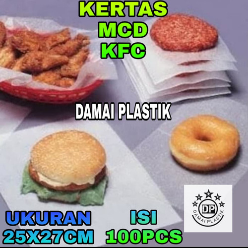 Foto Produk Kertas nasi KFC / MCD ,Kertas Burger /Kebab/ Kertas Bungkus Nasi dari DAMAIPLASTIK