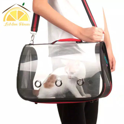 Foto Produk L House - Waterproof Pet Carrier Transparent Bag Tas Peliharaan Travel - Biru - Size M dari Lemon House