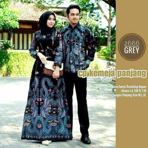 Foto Produk gamis kemeja cauple mama papa sarimbit terbaru baju remaja ibu muda - Abu-abu dari Batik Makin Jaya