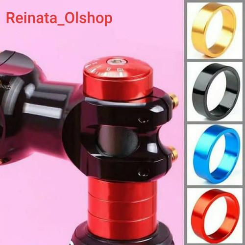 Foto Produk Ring Spacer Headset Stem Fork Gasket Sepeda 5 & 10mm Alloy - Hitam, 10mm dari Reinata_Olshop