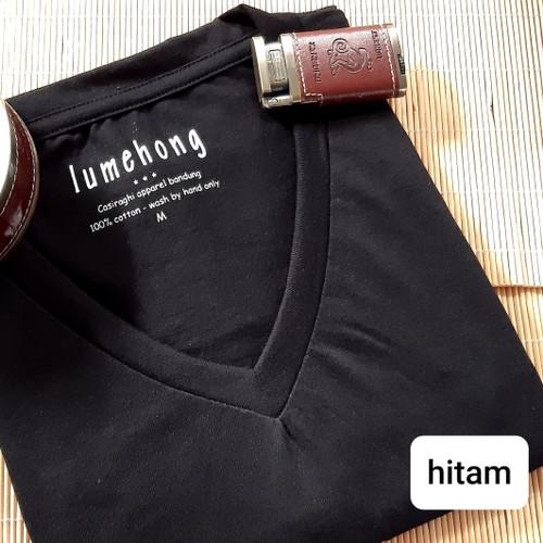 Foto Produk kaos polos pria Basic mens tshirt v neck - S, Hitam dari Kerry Onlineshop