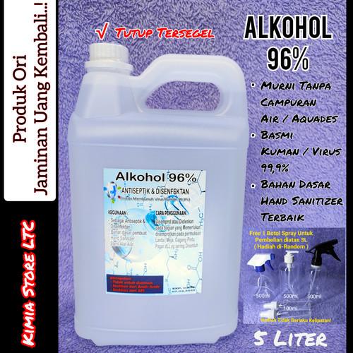Foto Produk Alkohol 96% 5 Liter, Alkohol Murni tanpa campuran Aquades / Air dari Kimia Store..!