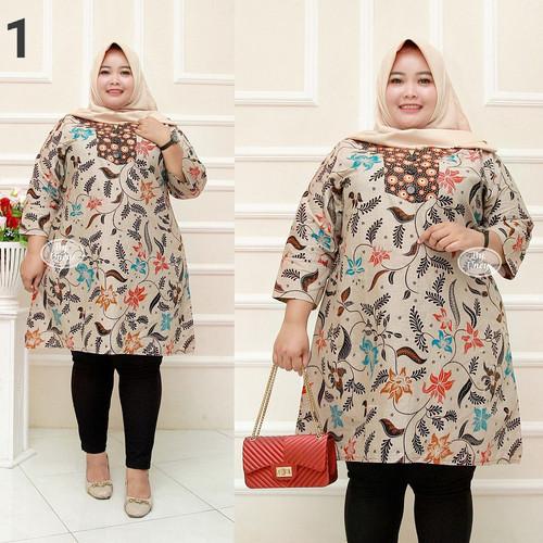 Foto Produk Baju batik tunik atasan wanita super jumbo ld 140 motif daun burung dari TABASAMA