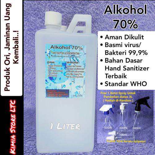 Foto Produk Alkohol 70% Ethanol 1L ( etil ) Antiseptik, Ampuh bunuh kuman/Virus dari Kimia Store..!
