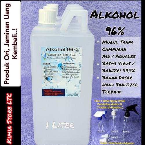 Foto Produk Alkohol 96% 1 Liter Murni tanpa campuran ( Antiseptik & Disenfektan ) dari Kimia Store..!