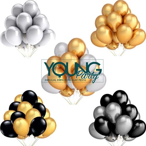 Foto Produk Balon Latex warna gold,putih,hitam/Balon Metalik isi 50 per pack dari Young Party