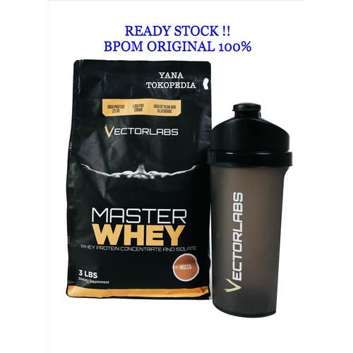 Foto Produk Whey Protein Vectorlabs Master Whey 3lbs 3 lbs bPOM free shaker halal - Coklat Amaretto dari Yana tokopedia
