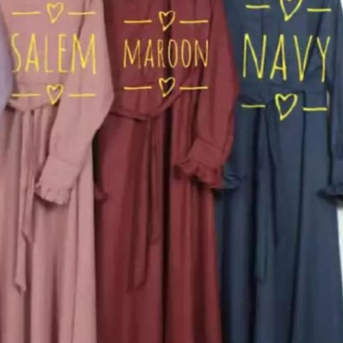 Foto Produk GAMIS KATUN MADINA POLOS Daily Umbrella Premium FULL KATUN MADINA ADEM - Maroon, All Size Fit L dari B6-16 Shop