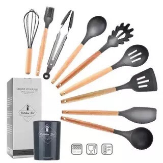 Foto Produk Spatula set silikon sutil set kitchen set dapur 9pcs+ tabung - Dark Grey dari Toko Dupa Rezeki
