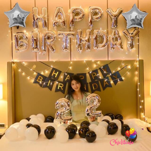 Foto Produk Paket set balon dekorasi ulang tahun birthday silver black LED fancy dari chic lit case