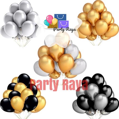 Foto Produk balon latex gold, hitam dan silver / Balon metalik isi 50 per pack dari PartyRaya