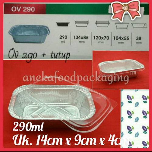 Foto Produk Cup wadah aluminium foil kotak persegi Ov 290+tutup dari anekafoodpackaging