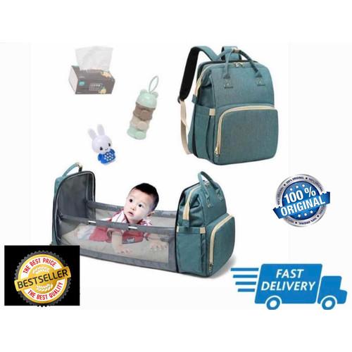 Foto Produk Diaper Bag tipe upgraded - Tas popok botol susu bayi backpack with Bed dari Grosirasia