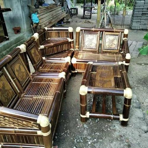 Foto Produk kusi tamu sudut bambu wulung murah dari tokoh furniture murah