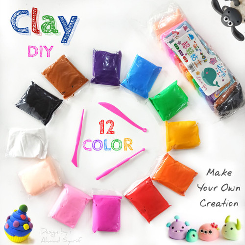 Foto Produk NEW 12 COLOUR POLYMER CLAY (IMPORT) - Mainan clay - SOUVENIR ULTAH dari Grosir Murah Mainan