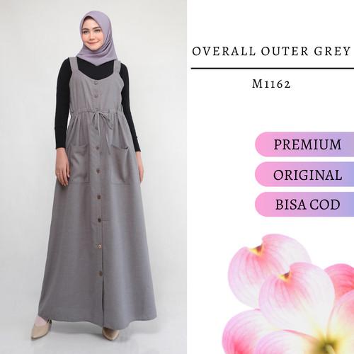 Foto Produk Overall wanita muslim polos panjang real pict ld 100cm warna abu M1162 dari BUTIK REAL PICT