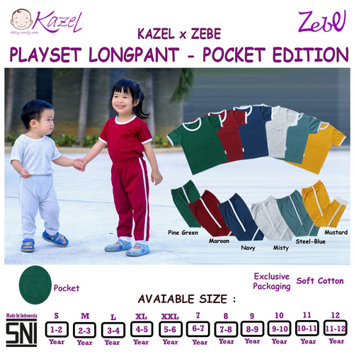 Foto Produk Kazel Playset Longpants Panjang Pocket - Unisex Edition -1-6 Tahun. - Pine Green, S dari Babyklik - Baby Shop