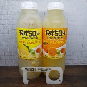 Foto Produk Minuman Korea Kekinian Rasqy Korean Honey Tea Mix 500ml Plus Cofinger dari Raefal-Shop