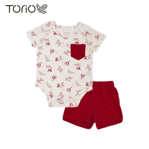 Foto Produk Torio Onesie Set Red Tools - Baby Bodysuit Baju Setelan Bayi Laki-laki - 12-18 bulan dari Torio