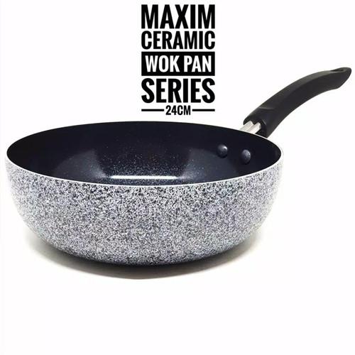 Foto Produk Wajan Deep Wok Pan Anti Lengket Marble Ceramic Wok MAXIM NEOSTONE 24CM dari Every One Shop
