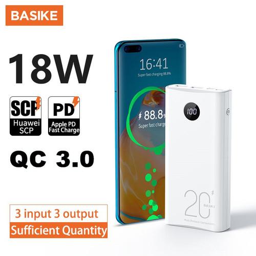 Foto Produk BASIKE Powerbank 20000 mah LED Display QC 3.0 PD 18W Two Way Murah Ori - PT208D white dari Basike Official Store