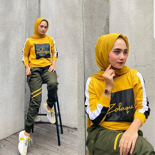 Foto Produk Zolaqu set sporty baju setelan olahraga senam training muslim wanita dari zam collection