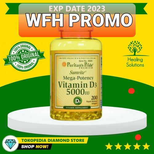 Foto Produk Puritan Pride Vitamin D3 125mcg 5000 IU Mega Potency - 100% ORI USA - Isi 100 dari Healing Solutions