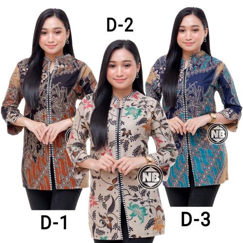 Foto Produk Baju Batik Wanita Blouse Seragam Kerja - D-3, M dari SANTY-COLLECTION