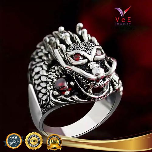Foto Produk Cincin Titanium Perak Kepala Naga Ruby Merah Delima - VeE Cincin Pria - 8 dari Vee Jewelry