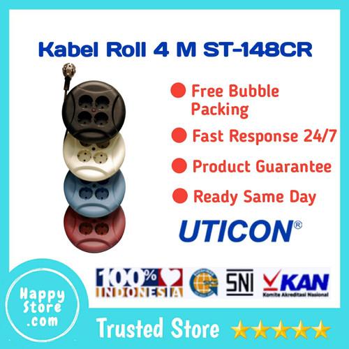 Foto Produk STOP KONTAK KABEL ROLL 4 METER Model UFO UTICON - Biru dari Happy Store Com