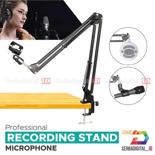 Foto Produk Stand Mic Meja klip / Boom Arm Microphone suspension Podcast,Gaming dari serbadigital-id