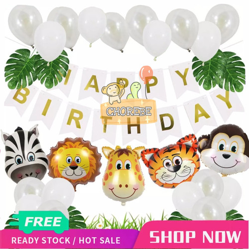 Foto Produk Paket Dekorasi Hiasan Balon Ulang Tahun / Happy Birthday Animal Zoo 01 - Putih dari Chorebe
