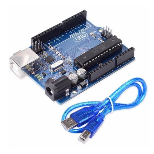 Foto Produk ARDUINO UNO R3 WITH DATA CABLE DIP IC ATMEGA328 ATMEGA 16U2 SERIAL dari Galeri Electronic Shop