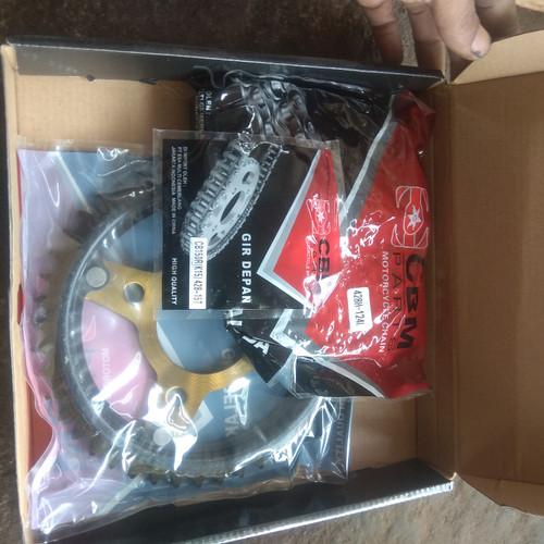 Foto Produk gir set cb 150 r k15 gear paket rantai baja trq dari dokter motor