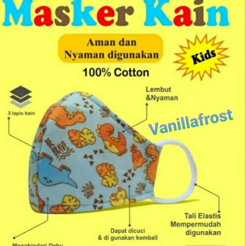 Foto Produk Masker Anak 3 Ply Katun 100% Berstandar SNI dari Vanillafrost