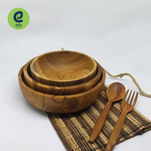 Foto Produk Mangkok Makan Kayu - Mangkok Bakso / Salad - Wooden Bowl - 15 x 6 cm dari eLiv