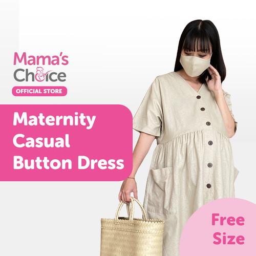 Foto Produk Mama's Choice Maternity Casual Button Dress - Cream dari MamasChoiceID