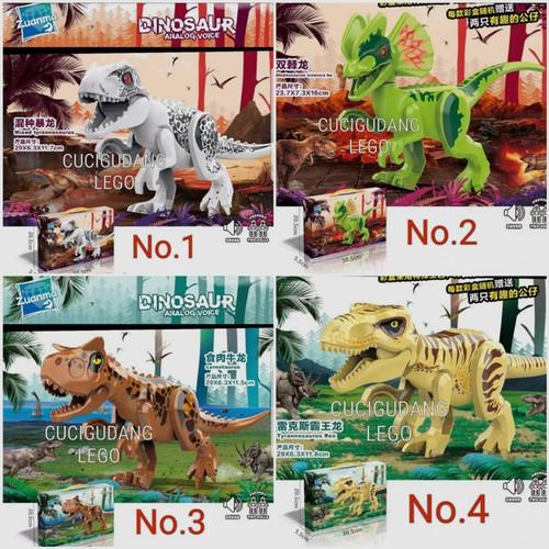 Foto Produk Lego Dinosaurus Dino Jurassic TRex Ukuran Besar Ada Suara Analog Voice - No.2 Hijau dari cucigudanglego