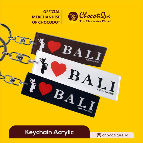 Foto Produk Keychain gantungan kunci Chocodot akrilik (I LOVE BALI EDITION) - Putih dari Chocodot Official Shop