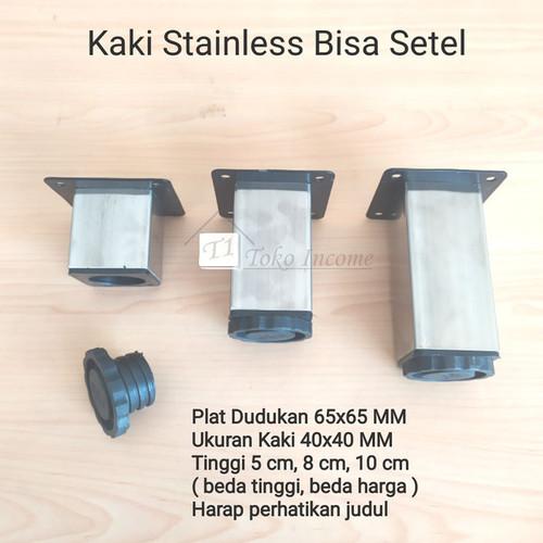 Foto Produk Kaki 40 x 40 mm x 8 cm Stainless Kotak Sofa Meja Lemari Kitchen Besi dari Toko Income