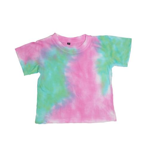 Foto Produk Kids Tie Dye T-shirt Pink Green Block - S dari Flo's Tie Dye Shop