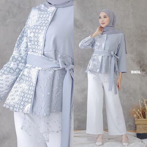 Foto Produk Baju Batik Atasan Wanita/Blouse Batik Kombinasi - Abu-abu dari Fall Collection