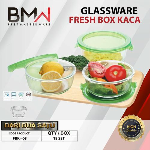 Foto Produk 1 Set Mangkok Salad Tutup Tempered Glass Food Container Glassware Bowl - FRESHBOX dari DariDuaSatu