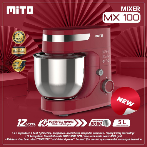 Foto Produk Mito Stand Mixer - MX-100 - MX100 - Merah dari Homewaresku