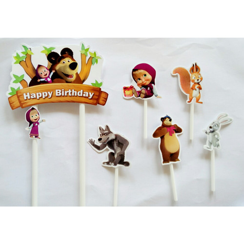 Foto Produk Topper cake kue ulang tahun karakter masha and the bear dari recht shop
