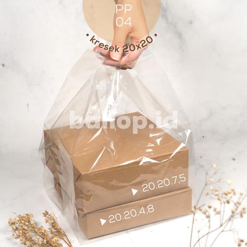 Foto Produk Kresek Plastik Tebal Bening Transpara PP Cake Kotak Dus Dos Tart 20Cm dari ballop.id