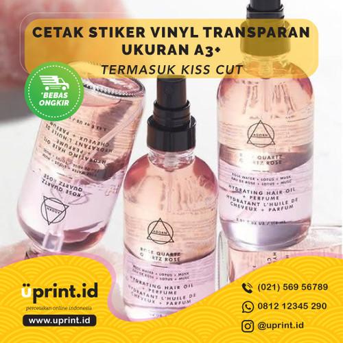 Foto Produk Cetak Stiker Vinyl Transparan A3 + CUT / Cetak Label Kemasan dari Uprint.id