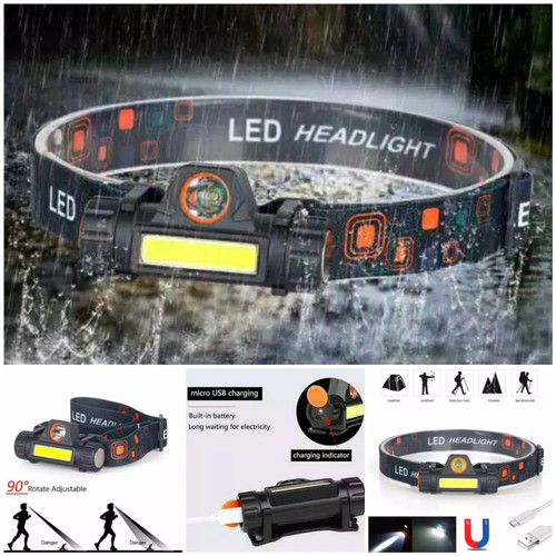 Foto Produk headlamp high power senter kepala led COB recharge baterai waterproof dari dpeakoutdoor